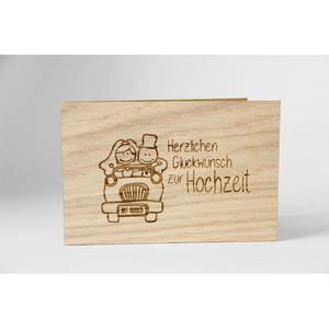"""Holzgrußkarte """"Herzlichen Glückwunsch zur Hochzeit"""""""
