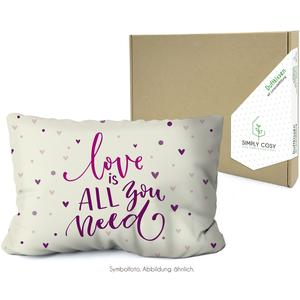 Simply Cosy Lavendelkissen in der Kartonverpackung mit Motiv: Love is all you need