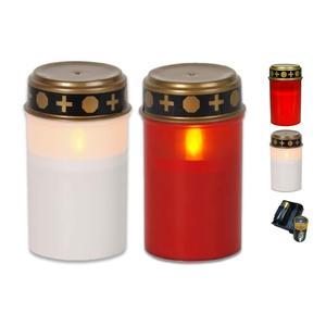 Bestpoint LED-Grablichter Set / 2 teilig: 1x rot, 1x weiß / elektronisches LED-Grablichter Set inkl. Batterie
