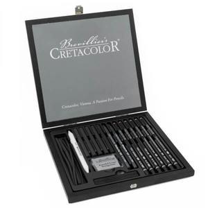 CRETACOLOR Black Box Holz 20-teiliges Kohle und Zeichenset