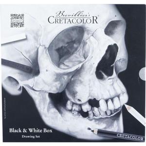 Black and White Zeichenset Box - Totenkopfdesign