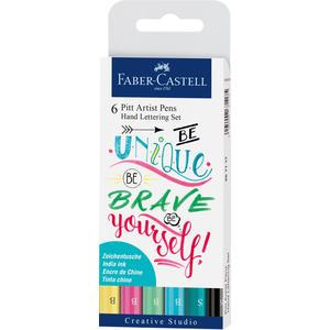 Pitt Artist Pen Tuschestift, 6er Etui Lettering, Pastelltöne