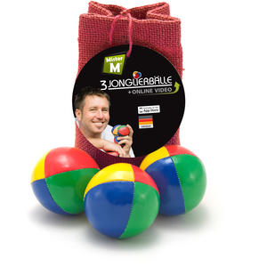 """""""Das Ultimative 3 Ball Jonglier Set"""", Jutebeutel Rot, Bälle mit Naturfüllung, Online Lern Video von """"Mister M"""", (Jutebeutel in beige, blau oder grün erhältlich)."""