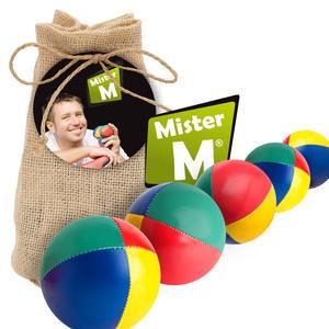 """""""Das Ultimative 5 Ball Jonglier Set"""", Jutebeutel Beige, Bälle mit Naturfüllung, Online Lern Video von """"Mister M"""", (Jute Beutel auch in Rot, Blau oder Grün erhältlich)."""