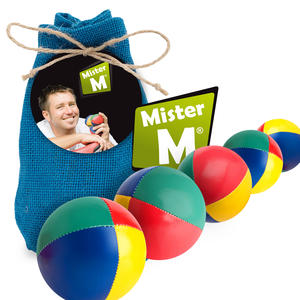 """""""Das Ultimative 5 Ball Jonglier Set"""" Jutebeutel Blau, Bälle mit Naturfüllung, Online Lern Video von MisterM, (Jute Beutel in beige, rot oder grün erhältlich)."""
