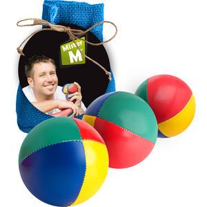 """""""Das Ultimative 3 Ball Jonglier Set"""" Jutebeutel Blau, Bälle mit Naturfüllung, Online Lern Video von MisterM, (Jute Beutel in beige, rot oder grün erhältlich)."""