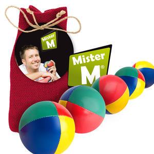 """""""Das Ultimative 5 Ball Jonglier Set"""", Jutebeutel Rot, Bälle mit Naturfüllung, Online Lern Video von MisterM, (Jute Beutel in Beige, Blau oder Grün erhältlich)."""
