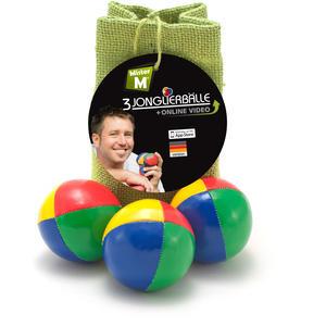 """""""Das Ultimative 3 Ball Jonglier Set"""", Jutebeutel Grün, Bälle mit Naturfüllung, Online Lern Video von """"Mister M"""", (Jutebeutel in beige, rot oder blau erhältlich)"""
