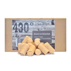 430° Öko Anzünder - 1,5 kg ca.150 Stk.- Kaminanzünder | Ofenanzünder | Grillanzünder | Brennholzanzünder | Holzkohle | Briketts | Kaminholz | Premium-Holz & Wachs | Top Qualität