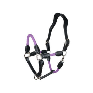 indira Seil-Leder-Halfter pro PP-Strick-Echtleder (violett, Full-Warmblut)