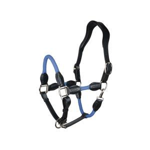 indira Seil-Leder-Halfter pro PP-Strick-Echtleder (blau, Full-Warmblut)