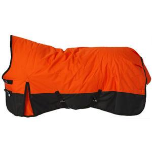 Saddlery4U Pferdedecke Winter, Ripstop 1200D, 400g Füllung, hoher Nackenschutz, orange/schwarz, 145cm