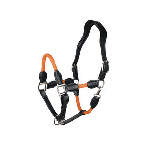 indira Seil-Leder-Halfter pro PP-Strick-Echtleder (orange, Cob-Kleinpferd)