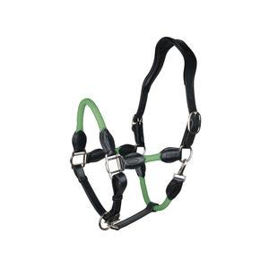 indira Seil-Leder-Halfter pro PP-Strick-Echtleder (grün, Full-Warmblut)