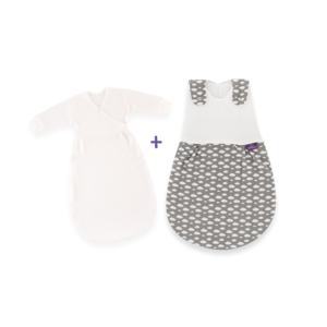 Babyschlafsack LIEBMICH 2tlg. SET Wolke grau | Größe 44