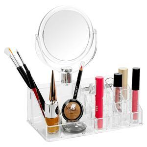 Ein doppelseitiger Spiegel und ein Make-up-Organizer in 1
