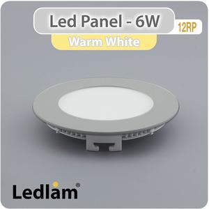 LED Einbaustrahler Panel Strahler Einbauspot silber 6 Watt rund 12cm warmweiß 3000 Kelvin, 220 Volt, Schutzklasse IP20, Abstrahlwinkel 120 Grad Ledpanel Einbaupanel