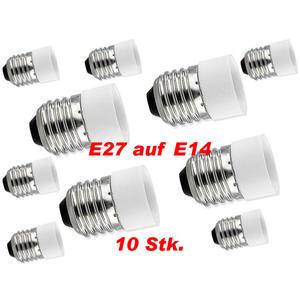 10er Set Lampensockel Adapter Fassung E27 auf E14 10 Stück
