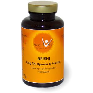 Wellvit Reishi & Acerola | 180 Kapseln Vitalpilz Ling Zhi | Hochwertiges Reishi Sporenpulver mit natürlichem Vitamin C | Zertifizierte Österreichische Produktion | vegan