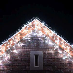 144 x LED Lichterkette Lichtervorhang Icicle kaltweiß mit Effektcontroller, untereinander koppelbar