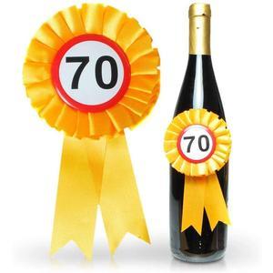 Flaschenrosette zum 70. Geburtstag - Flaschen Rosette mit Siegerschleife und 70er Button mit Gummiband zum befestigen - ca. 14 x 8 cm