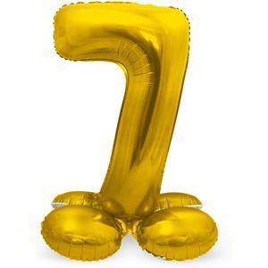 Luftballon Folienballon XXL - Stehende Zahl 7 in Gold als Deko für Geburtstag, Party und Jubiläum   Größe: 72cm mit Basis   kein Ballongas notwendig