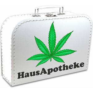 Pappkoffer bedruckt - Motiv: Hausapotheke Hanfblatt