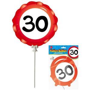 Luftballon 40 selbstaufblasend - 3er Set Packung - DEKO zum 30. Geburtstag - Folienballon Bedruckt mit Verkehrsschild Zahl 30
