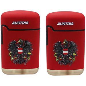 Sturmfeuerzeug Österreich ROT gummiert im 2er-Pack bedruckt - mit 3D Effekt - Austria mit Staatsadler