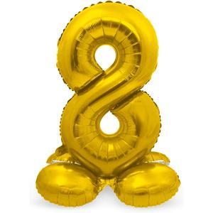 Luftballon Folienballon XXL - Stehende Zahl 8 in Gold als Deko für Geburtstag, Party und Jubiläum   Größe: 72cm mit Basis   kein Ballongas notwendig