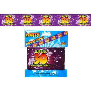 Geburtstag 30 - Absperrband bunt 30 - 15m lang - zum 30. Geburtstag - Bedruckt SUPER! Happy Birthday 30 auf violetten Band