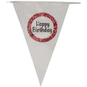 Geburtstag Wimpelgirlande Happy Birthday - mit 10 Wimpeln und Einer Länge von ca. 6m - DEKO zum Geburtstag - Kunststoffwimpel Bedruckt mit Aufdruck Happy Birthday