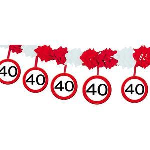 Partygirlande Geburtstag - DEKO zum 40. Geburtstag - Papiergirlande Bedruckt mit Verkehrsschild Zahl 40