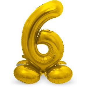 Luftballon Folienballon XXL - Stehende Zahl 6 in Gold als Deko für Geburtstag, Party und Jubiläum   Größe: 72cm mit Basis   kein Ballongas notwendig