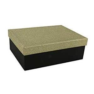 Geschenkbox Aufbewahrungsbox Karton mit GlitzerDeckel - Stabiler Karton - 5er Set in absteigender Größe in der Farben Gold