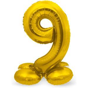 Luftballon Folienballon XXL - Stehende Zahl 9 in Gold als Deko für Geburtstag, Party und Jubiläum   Größe: 72cm mit Basis   kein Ballongas notwendig