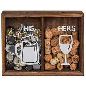 Sammelbox - Getränkedeckelsammler aus Holz für Kronkorken und Weinkorken, 29x20x7cm - Zwei getrennte Fächer HIS & Hers