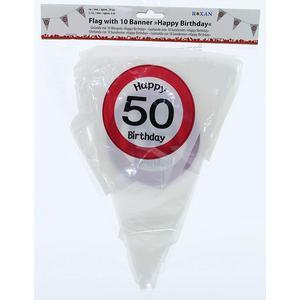 Geburtstag Wimpelgirlande zum 50. Geburtstag - Kunststoffwimpel Bedruckt mit Jahreszahl 50