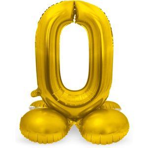 Luftballon Folienballon XXL - Stehende Zahl 0 in Gold als Deko für Geburtstag, Party und Jubiläum   Größe: 72cm mit Basis   kein Ballongas notwendig