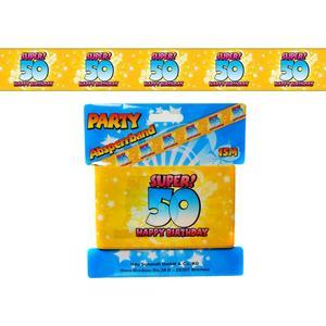 Geburtstag 50 - Absperrband bunt 50 - 15m lang - zum 50. Geburtstag - Bedruckt SUPER! Happy Birthday 50 auf gelben Band