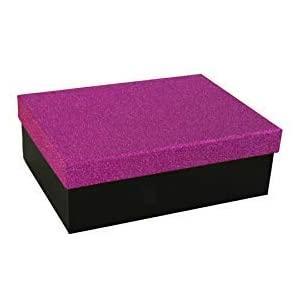 Geschenkbox Aufbewahrungsbox Karton mit GlitzerDeckel - Stabiler Karton - 5er Set in absteigender Größe in der Farben Violett