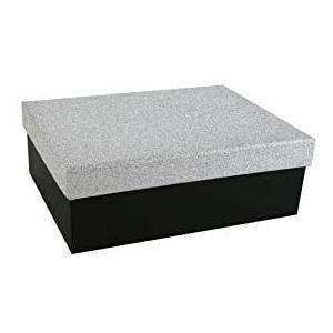 Geschenkbox Aufbewahrungsbox Karton mit GlitzerDeckel - Stabiler Karton - 5er Set in absteigender Größe in der Farben Silber