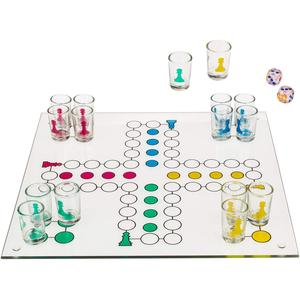 Trinkspiel - Mensch Ärgere Dich Nicht - aus Glas - Spielfläche 31x31cm