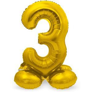 Luftballon Folienballon XXL - Stehende Zahl 3 in Gold als Deko für Geburtstag, Party und Jubiläum   Größe: 72cm mit Basis   kein Ballongas notwendig