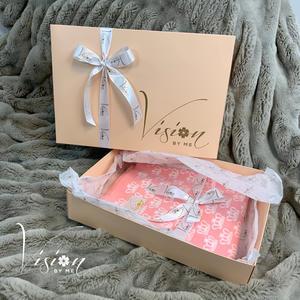 VISION BY ME Babydecke 100% Baumwolle - Rosa mit Kronen ÖkoTex zertifiziert - 70 x 100 cm