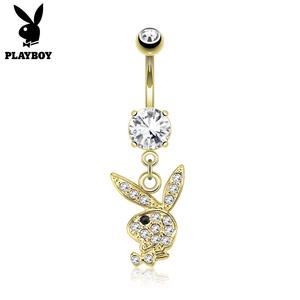 Bauchnabelpiercing Playboy goldfärbig