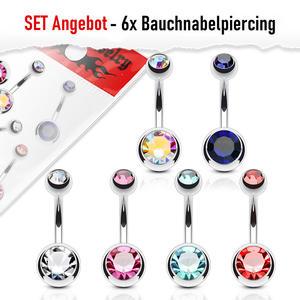 Set Angebot 6x Bauchnabelpiercing