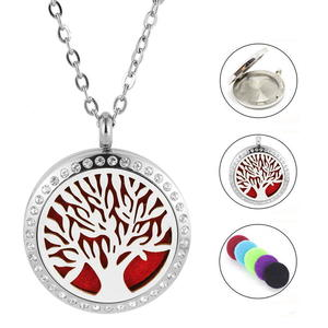 Edelstahlkette Lebensbaum mit kristall Steinchen | Parfumkette