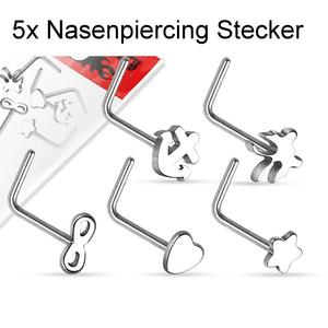 5er Set Nasenpiercing Chirurgenstahl 316L