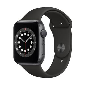 Apple Watch Series 6 GPS, Aluminium space grau, 44 mm mit Sportarmband, schwarz
